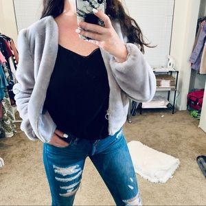 Lavender Fur Puff Cropped Jacket